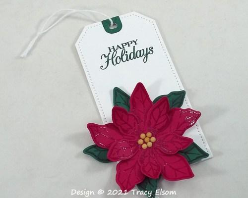Happy Holidays Poinsettia Tag