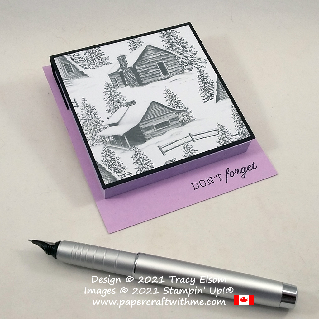 """""""Don't forget"""" Post-It Note pad decorated using the Days To Remember Stamp Set and Peaceful Place paper from Stampin' Up! #papercraftwithme"""