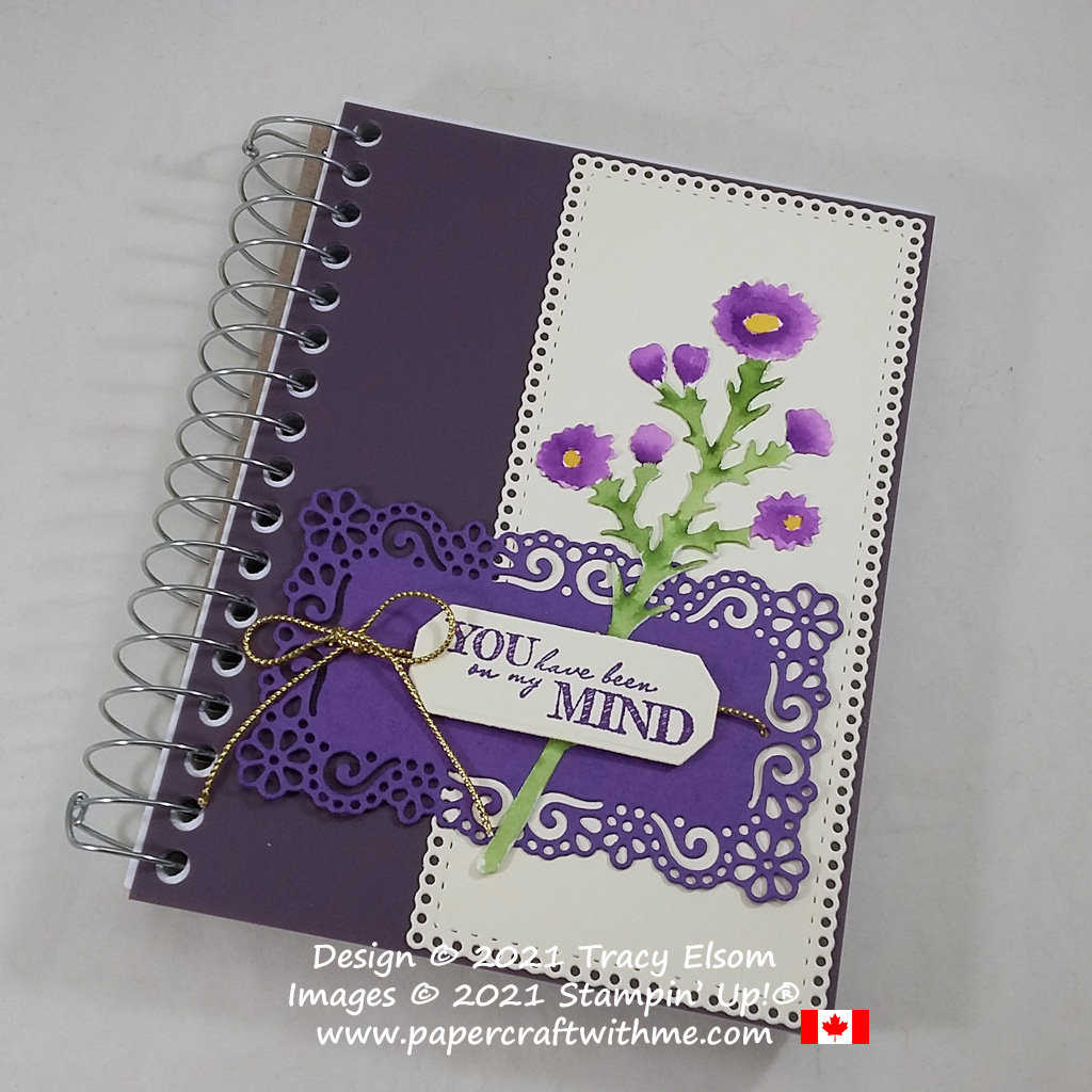 """Decorated journal with """"you have been on my mind"""" sentiment created using the After The Storm Stamp Set with Ornate Layers and Harvest Dies from Stampin' Up! #papercraftwithme"""