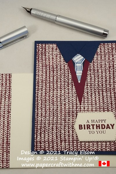 Masculine sweater birthday card created using the Knit Together and Handsomely Suited Stamp Sets and Suit & Tie Dies from Stampin' Up! #papercraftwithme