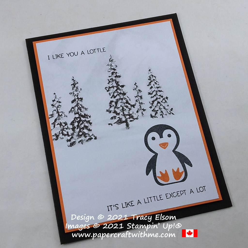 """""""I like you a lottle"""" card created using the Penguin Place Stamp Set and Peaceful Place paper from Stampin' Up! #simplestamping #papercraftwithme"""