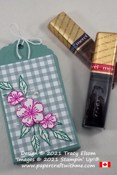 Treat box for 2 sticks of Merci chocolate created using the Free As A Bird Stamp Set and Delightful Tag Topper Punch from Stampin' Up! #papercraftwithme