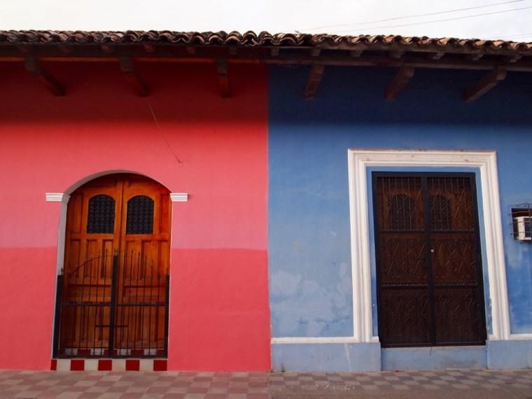 Pink and Blue Buildings Granada Nicaragua