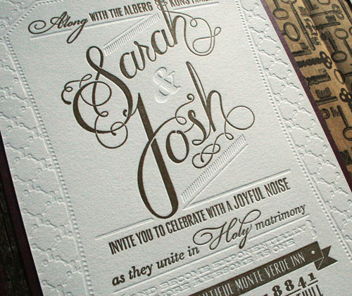 Gold Glitter Wedding Invitation Typography Letterpress