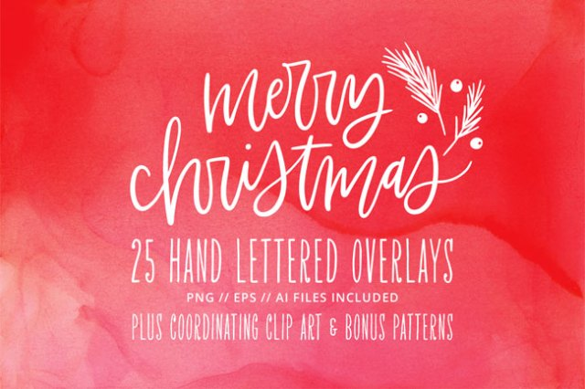 Holiday & Christmas Hand Lettered Photo Overlays / Clip Art from kbecca.com #clipart