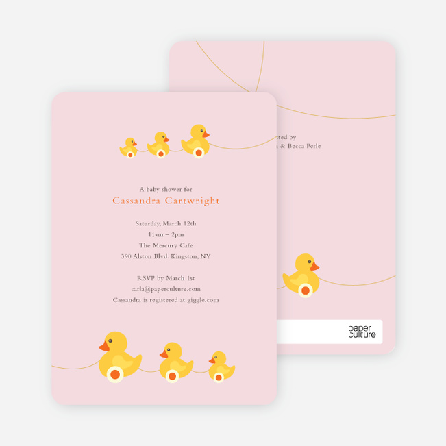 Ducks In A Row Baby Shower Invitations