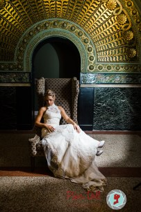 Dramatic bridal portrait at Union Station in St. Louis with model Jane Dillon