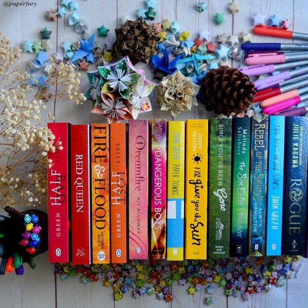 rainbow books mess