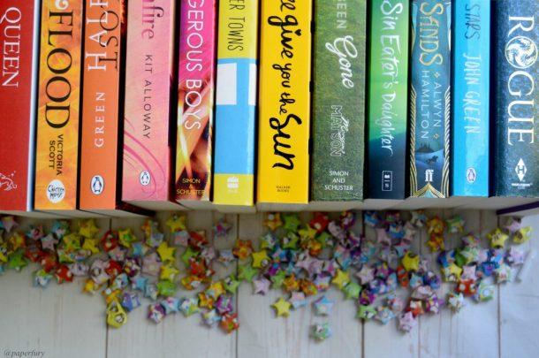 row of coloured books rainbow