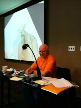 Jim Davis teaching a copperplate class