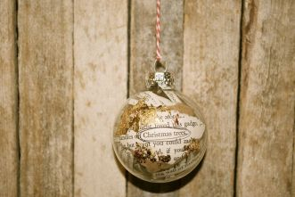 Christmas Trees, Altered Book Ornament, Ink with Copper and Gold Leaf Mix, $15