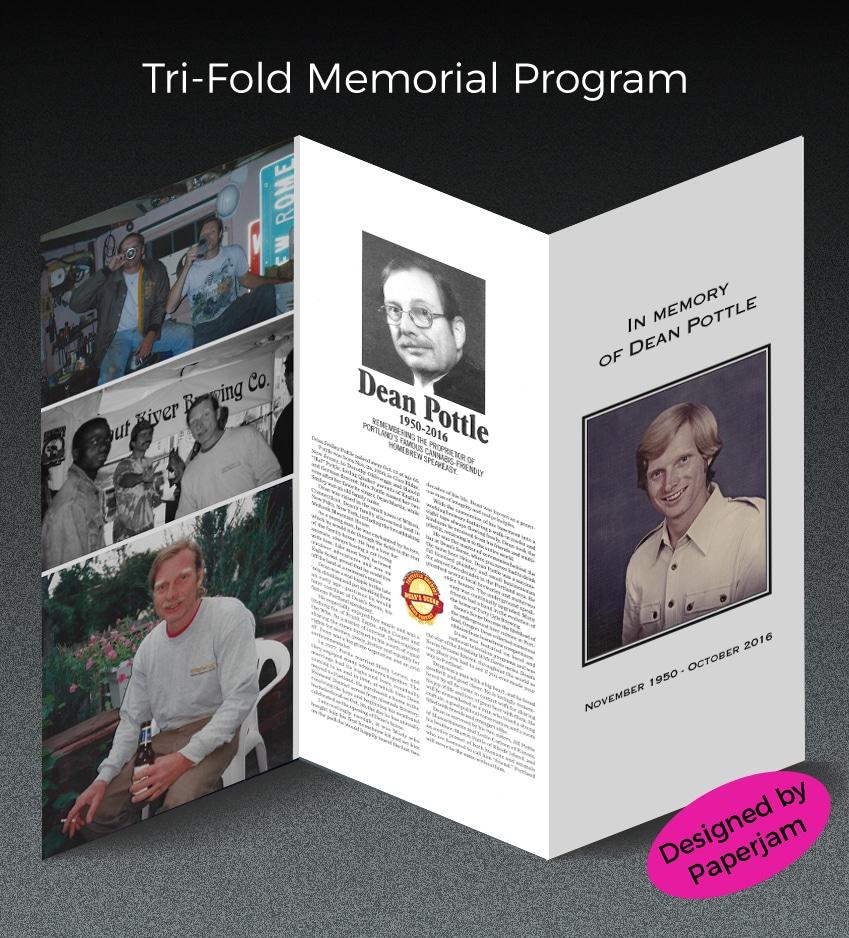 Tri Fold Memorial Program Paperjam Pdx