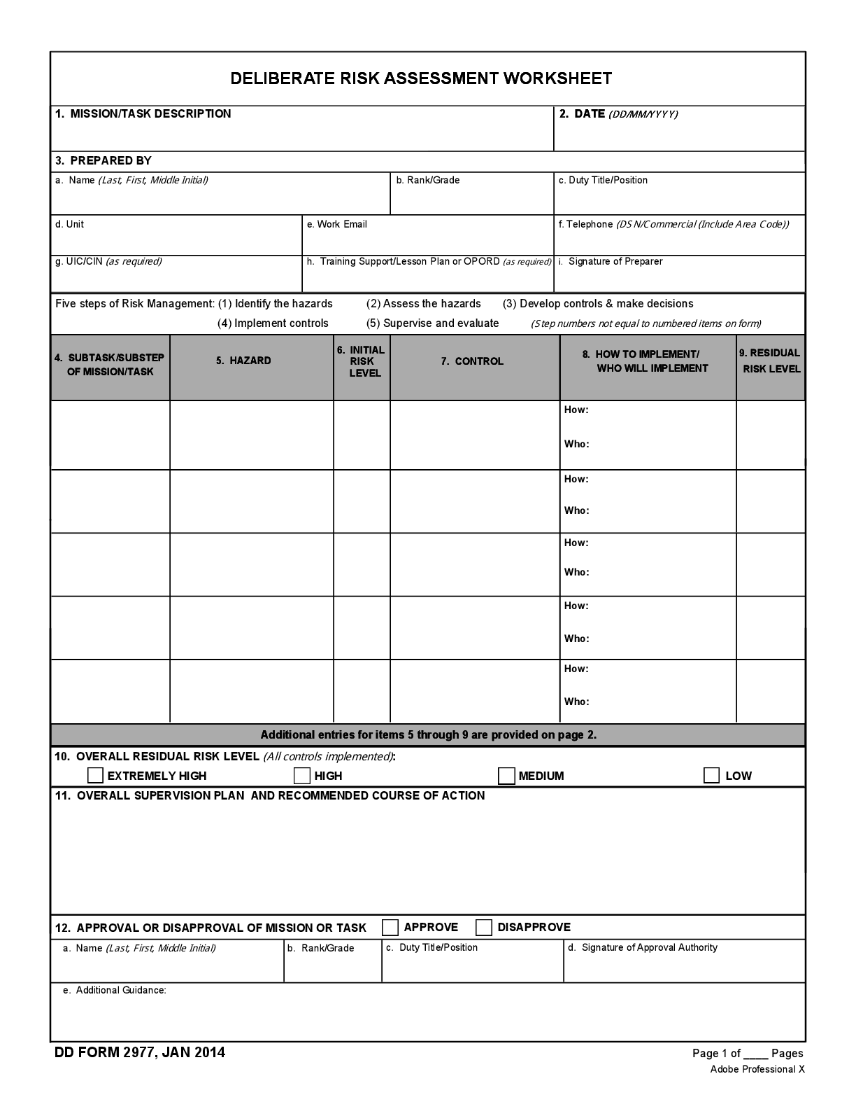 Dd Form Deliberate Risk Assessment Worksheet January 1 Form Fillable Template
