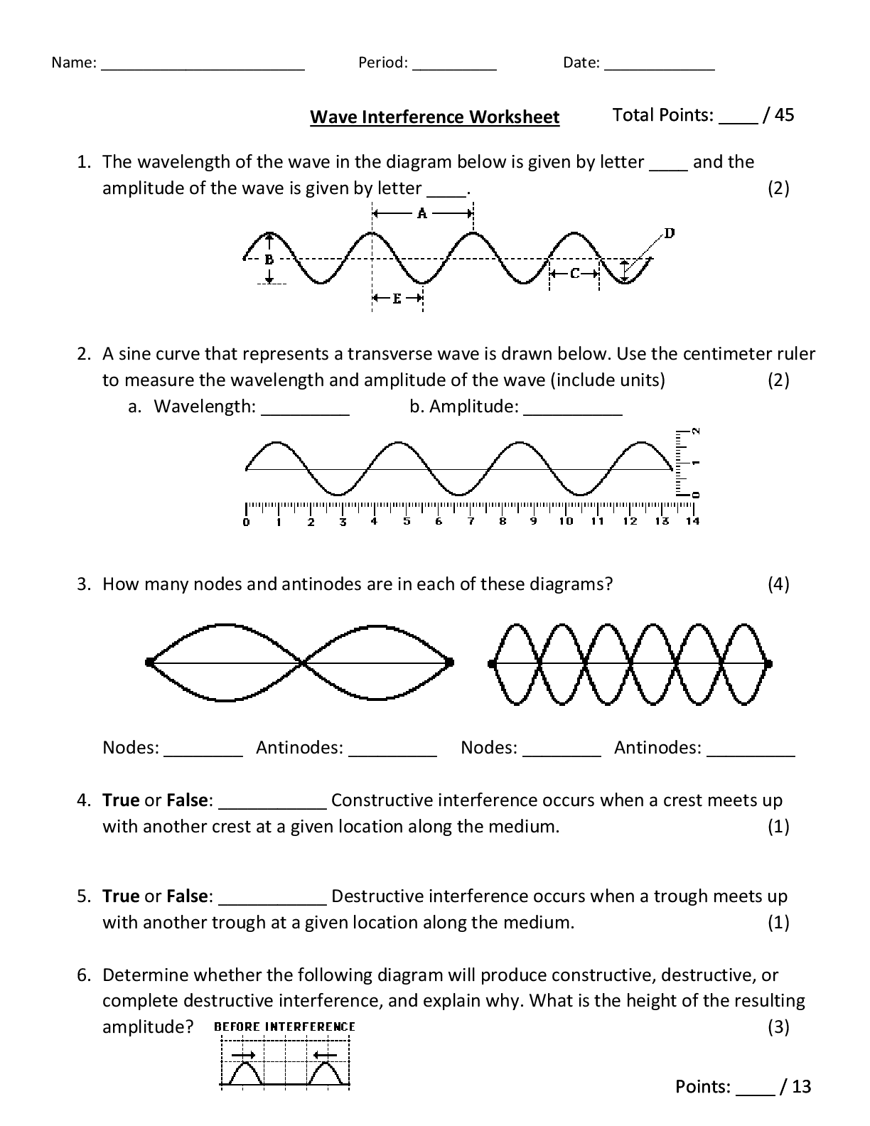 Wave Interference Worksheet Total Points 45