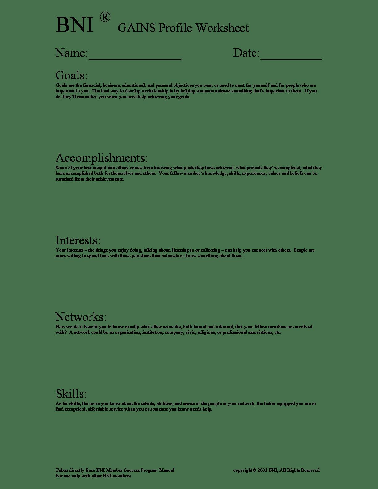 Bni Gains Profile Worksheet Form Fillable Template