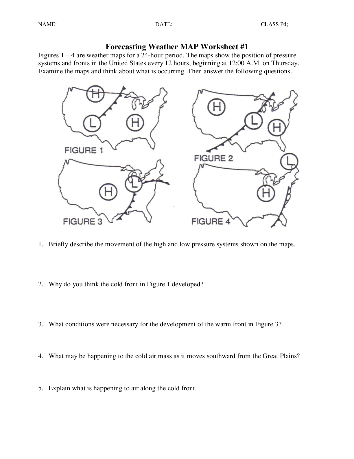 Forecasting Weather Map Worksheet 1