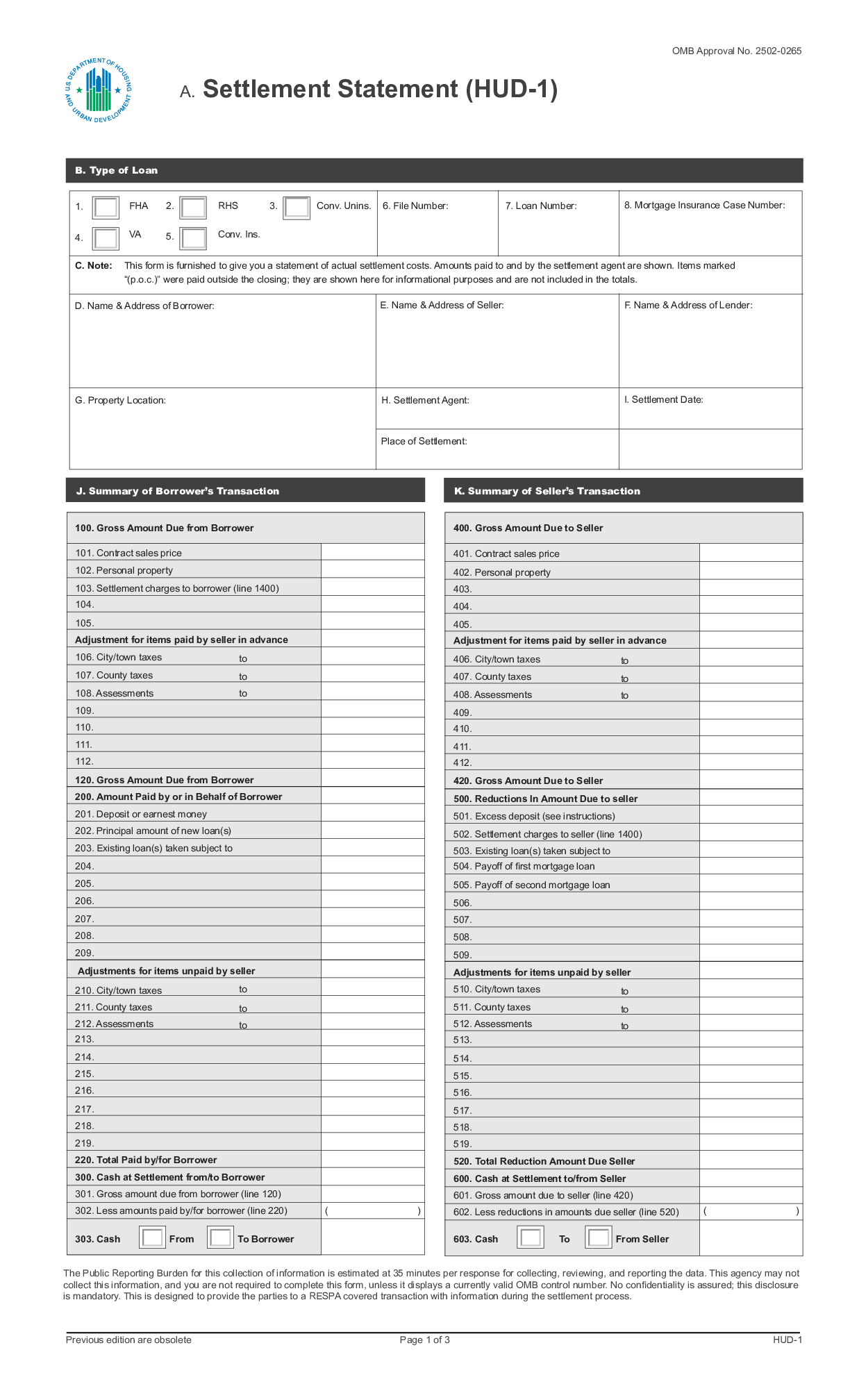 Hud 1 Form Fillable Template Download Here