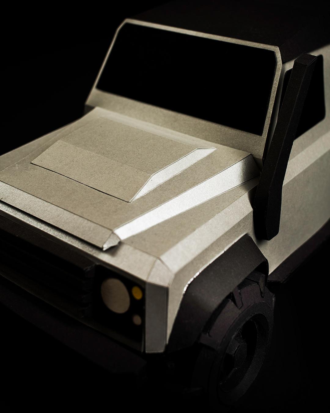 Geländewagen verteidigerer Papercraft car5
