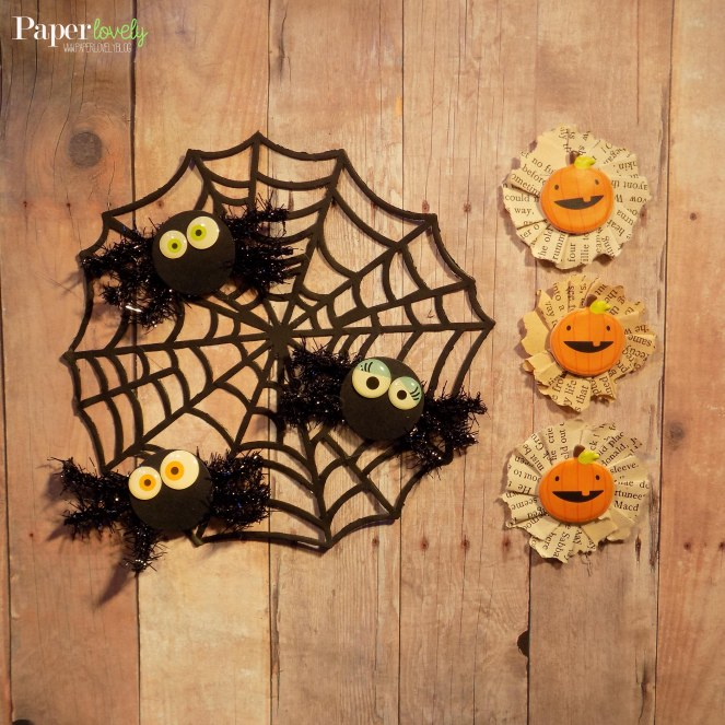spiders & pumpkin rosettes