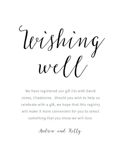 Nordic Gift Registry Or Wishing Well Card