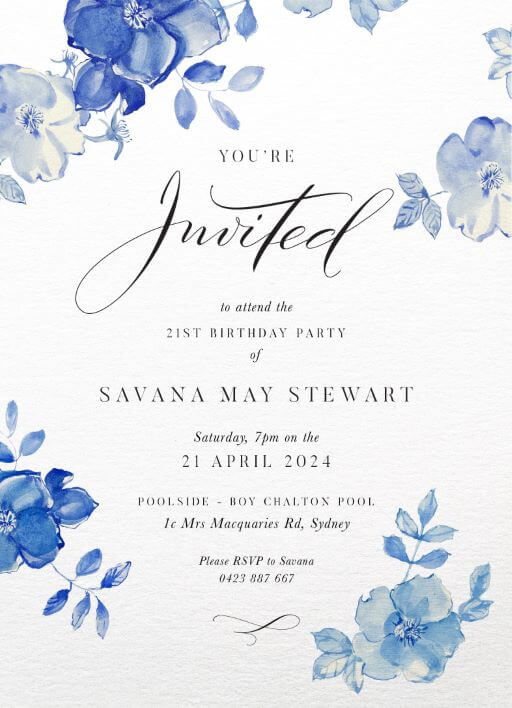 navy blue 16th birthday invitations