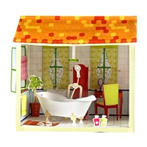 Maqueta 3D de un cuarto de baño de una casa de muñecas.
