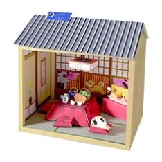 Maqueta 3D de casa de muñecas japonesa invierno.
