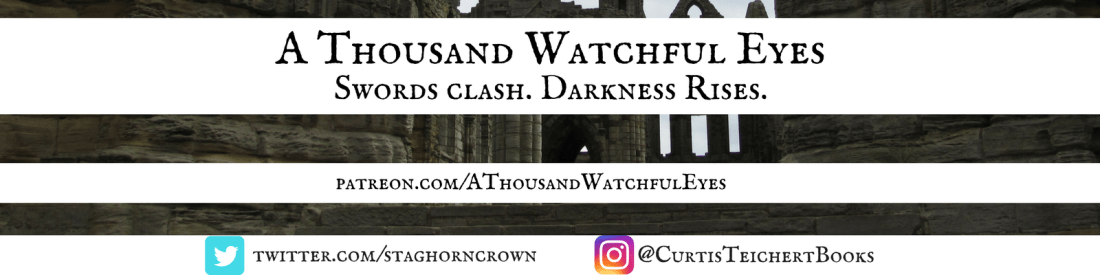 A Thousand Watchful Eyes - Swords Clash Darkness White Banner - Twitter and Instagram