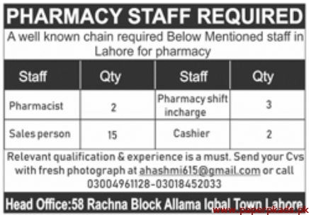 Pharmacy Staff Required in Lahore 2019