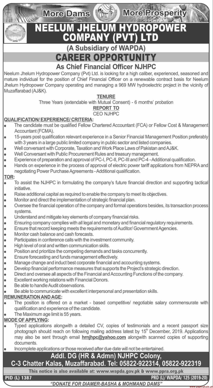 NEELUM Jhelum Hydropower Company Pvt Ltd Jobs 2019 Latest