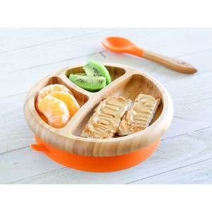 Avanchy Bamboo Suction Baby Plate with Spoon Orange