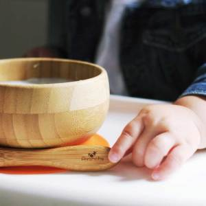Avanchy Bamboo Suction Baby Bowl with Spoon Orange
