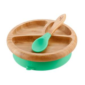 Avanchy Bamboo Suction Baby Plate with Spoon Green