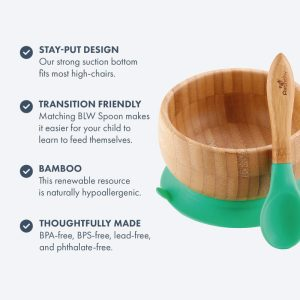Avanchy Bamboo Suction Baby Bowl with Spoon Magenta