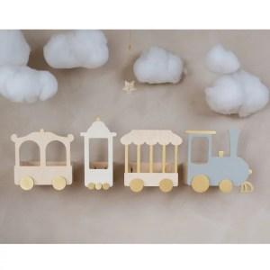 Train Shelf Wooden White/Grey