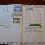My Camp NaNoWriMo Spread, including a word count tracker, April's calendar, tasks, and some inspiration.