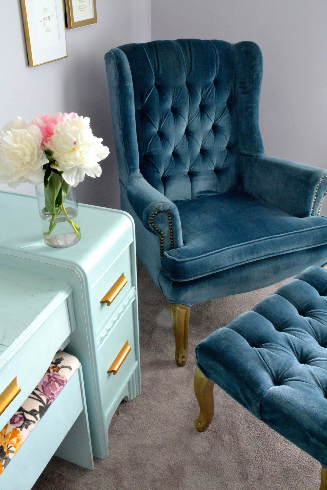 Before And After Blue Wingback Chair