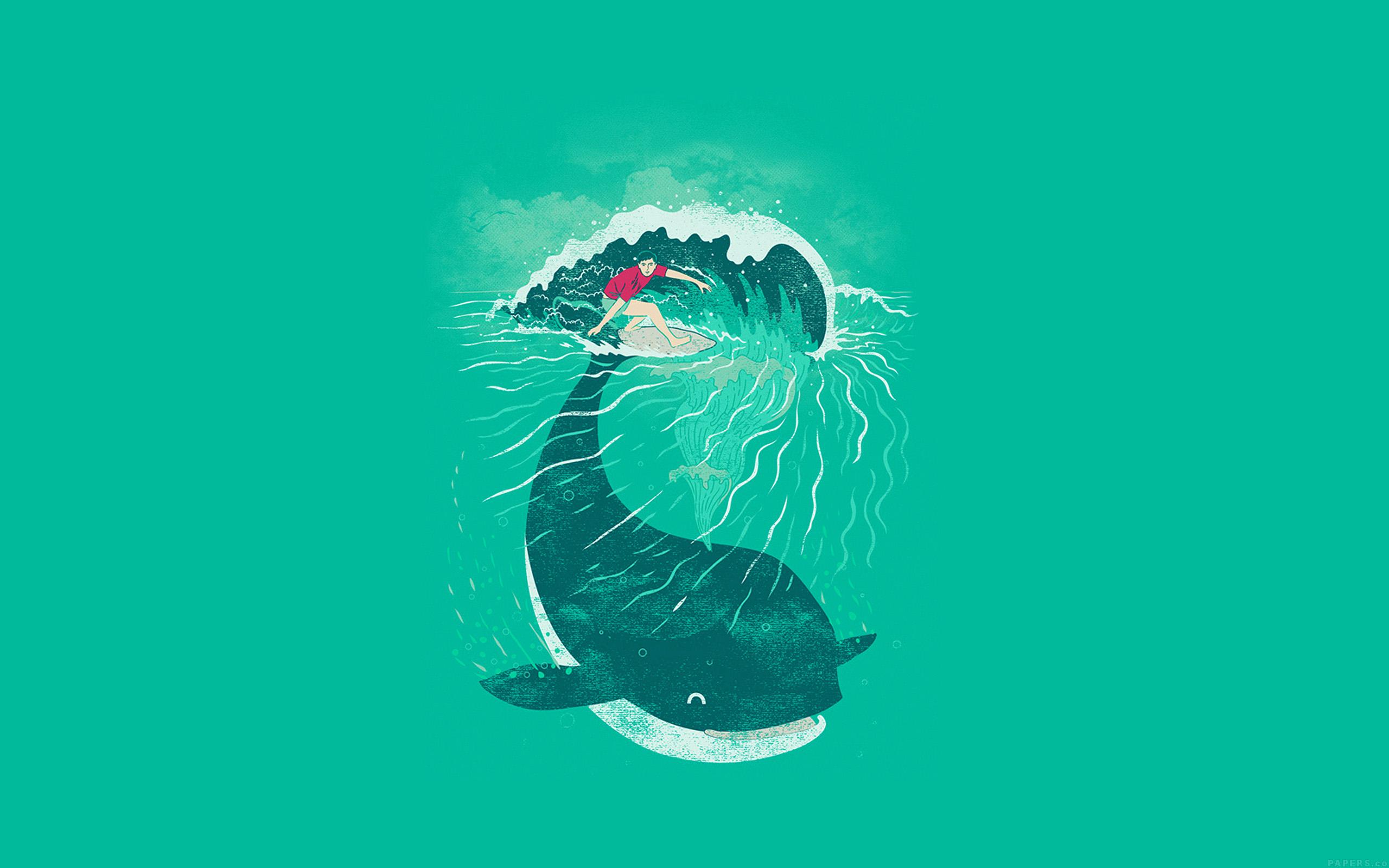 Ah85 Whale Surfer Wave Animal Illust Art Sea Wallpaper