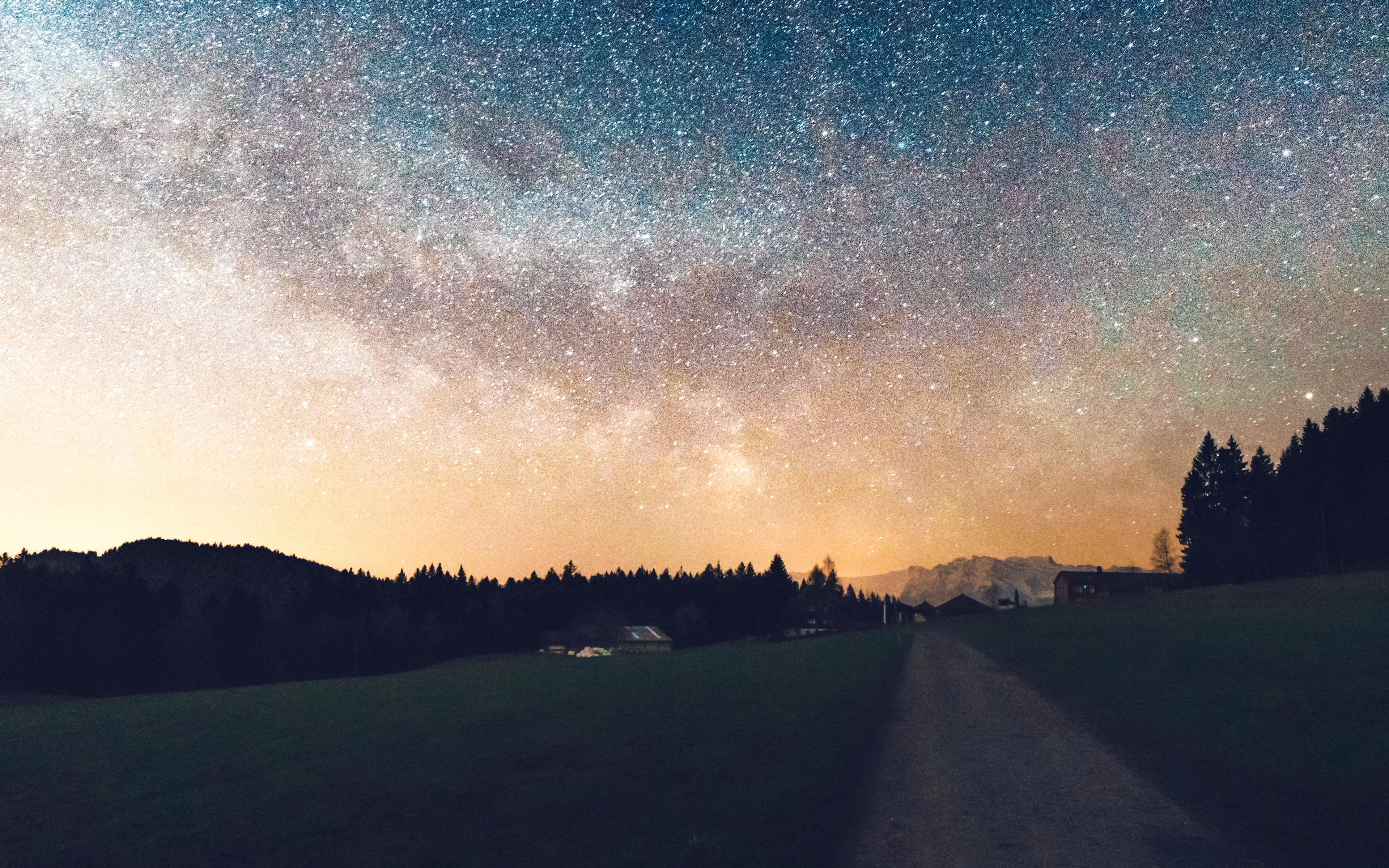 Nn93 Starry Sky Nature Sunset Mountain Road Wallpaper