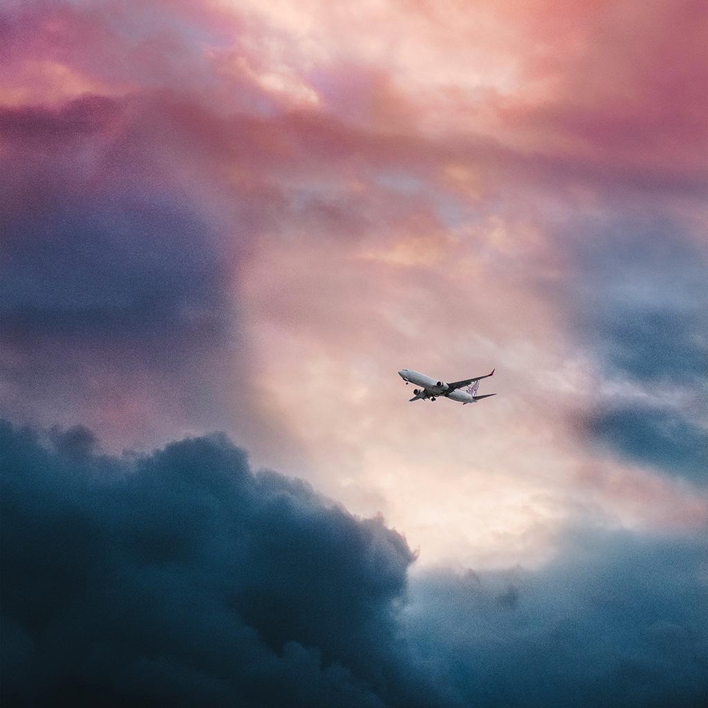 Nv09 Cloud Plane Fly Sky Nature Wallpaper