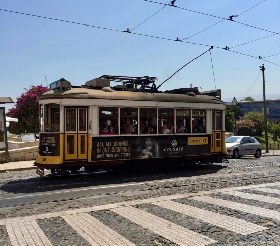 Lisbon Portugal yellow cable car