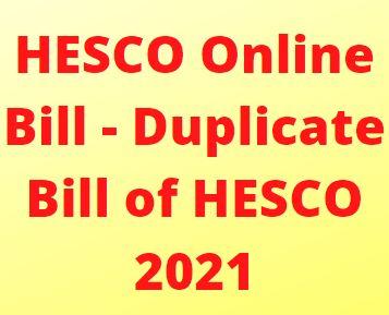HESCO Online Bill - Duplicate Bill of HESCO 2021