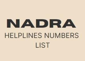 NADRA Helpline Number List