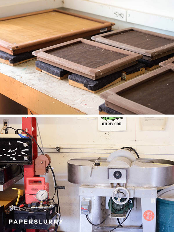 Fresh Press Papermaking Studio, moulds and deckles, Reina Hollander Paper Beater, Hydraulic Paper Press