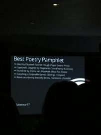 The Saboteur Awards 2017 — We won Best Poetry Pamphlet!