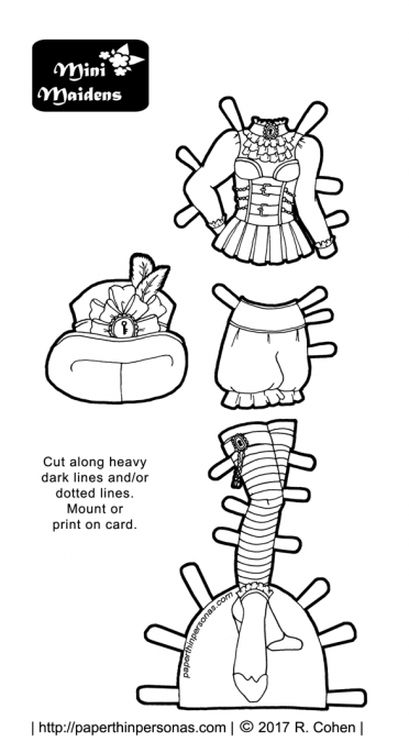 A printable paper doll steampunk coloring page from paperthinpersonas.com. The paper doll outfit can fit any one of the dozens of Mini-Maidens paper dolls