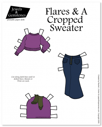Cropped sweater and flared jeans for my printable paper dolls in color for printing and playing with.