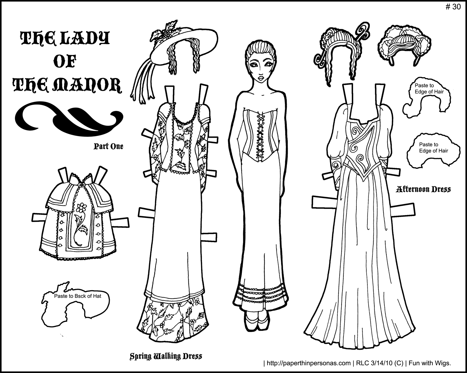 Lady Of The Manor Black And White Printable Paper Doll