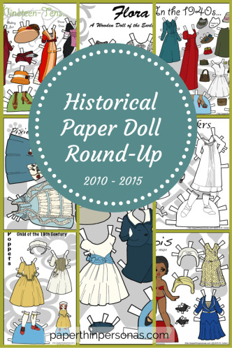 Historical Paper Doll Round-Up: Free Printable Historical Paper Dolls in Fashions from 900 Anglo-Saxon until 1970 American free to print from PaperThinPersonas.com