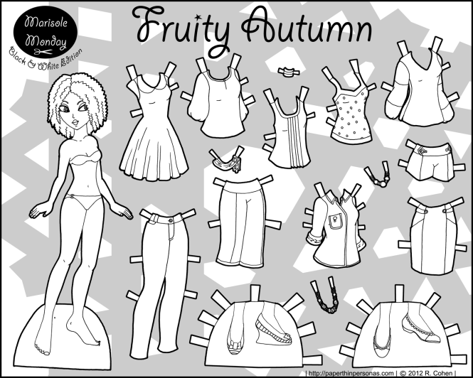 printable-paper-doll-fruity-autumn-BW